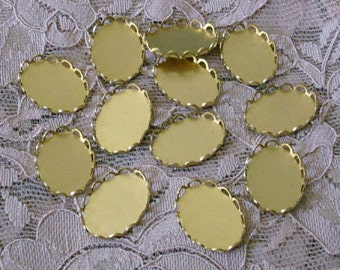 18mm x 13mm oval brass closed back lace edge oval settings 12 pieces lot l