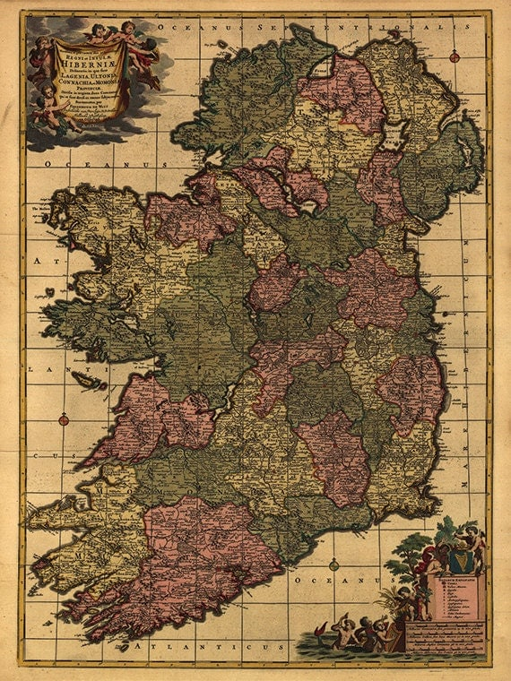 Ireland Map Print Map Vintage Old Maps By Victorianwalldecor