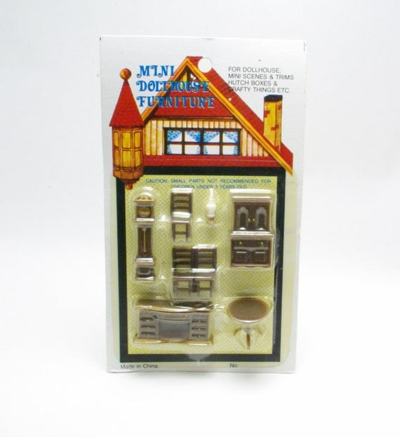 Vintage Mini Dollhouse Living Room Office Library By