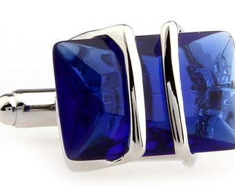 Montana Richman Cufflinks Blue Silver Bands Cuff Links