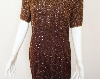 STENAY Beaded Dress 1980's Flapper Dress / Party Dress