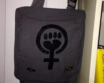 Feminist Fist   Gray Tote/Messenger Bag