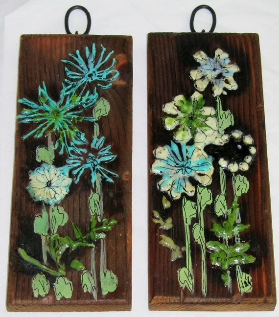 Vintage Teal Wall Decor : Two mod vintage wood wall plaques with teal by decadesdecor