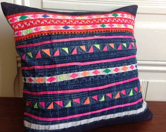 Indigo Appliqué pillow - Indigo Textile -