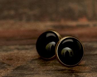 Black agate earrings e115