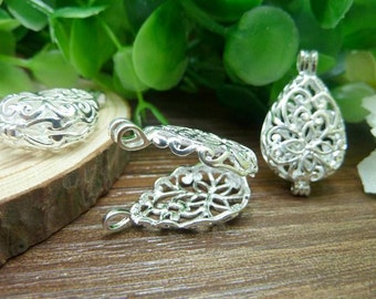 2 Silver Lovely High Quality Brass Filigree Wish Box Magic Box Charm Pendant ( open double sided and 3D )8x16x30mm - No.C6620