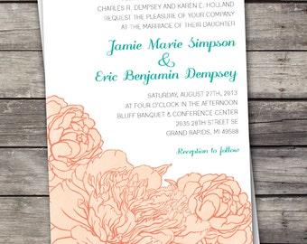 Peony flowers - Wedding Invitation Set - Digital Files