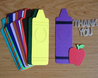 "15 large Crayon crayola die cuts for ""Thank you Teacher"" cards/toppers cardmaking scrapbooking 1st at school project"
