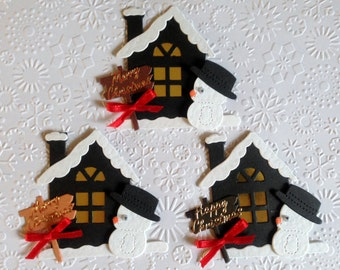 3 Luxury handmade Snowy house card toppers with Snowman for christmas card blanks scrapbooks