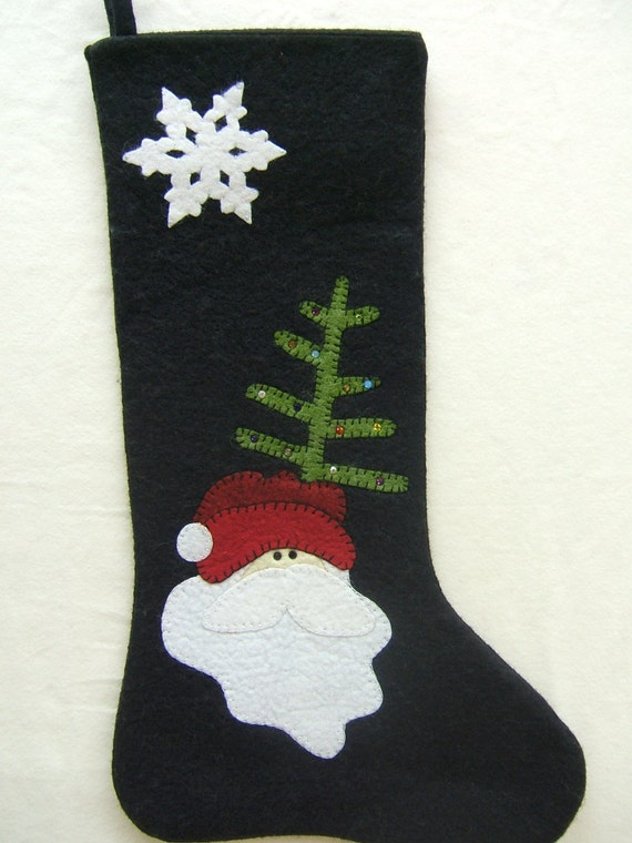 Wool felt christmas stocking hand appliqued embellished with for Felt stocking decorations