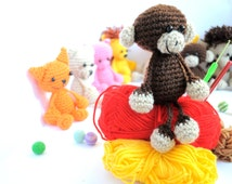 Crochet Amigurumi Monkey - Crochet Monkey  - Doll  - Crochet Monkey - Amigurumi Animal - Crochet Animal - Soft toy