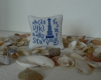 "Cushion ""Bord de mer"". Accessory decoration for doll scale 1/12th house."