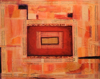 Orange Abstract Painting- Mixed Media Canvas- 18x24- Ready To Hang- Vintage Music
