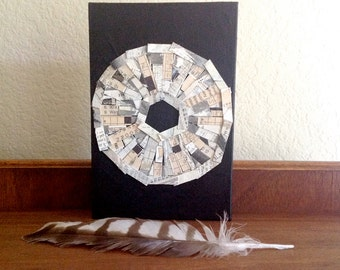 Crossword Circle Collage- Wood Block- Black, White, Cream- Abstract Mixed Media Art- Modern- Ready to Hang- 6x9x1