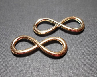 2 Large Gold Infinity Connectors 12x32mm, Infinity Symbol, Charms for Jewelry Making, Gold Charm Connector CC0011G