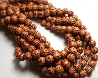8mm Light Palm Wood Beads, 8mm Wood Beads, Palm Beads, Beach Beads, Round Wood Beads, Wooden Beads, Island Beads, Quality Wood Beads D-P04