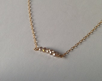 Gold Crystal Necklace : delicate gold crystal necklace