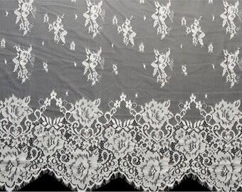 """59"""" eyelash rose black lace fabric  , Chantilly Eyelash white Lace Fabric  for Wedding Gowns, Bridal Veils, black veil"""