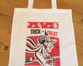 1 Tote Bag - Trick or Treat Halloween Candy Bag - Trick or Treaters Halloween Night - Retro - Vintage - Witch Bag 15x16