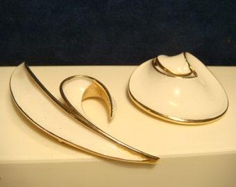 Lot of 2 VINTAGE TRIFARI Brooch GOLD/White Enamel