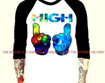 Men's Mickey Mouse Glove Galaxy High Baseball T Shirt raglan tattoo