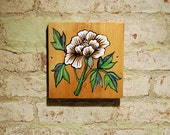 White Peony, Original Painting on Reclaimed Wood, Japanese Symbol of Love and Romance, Hand Painted Art on Old Board
