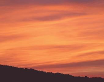 Orange Sunrise Color Photo Print { sunshine, sunlight, orange, sky, yellow, dawn, wall art, macro, nature & fine art photography }