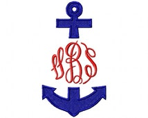 Split monogram anchor embroidery design download 4x4 and 5x7