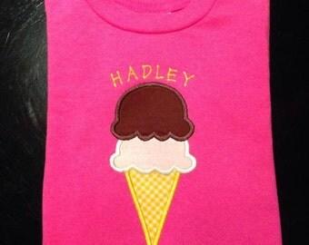 Ice Cream Cone applique design download 4x4, 5x7, and 6x10 hoop sizes