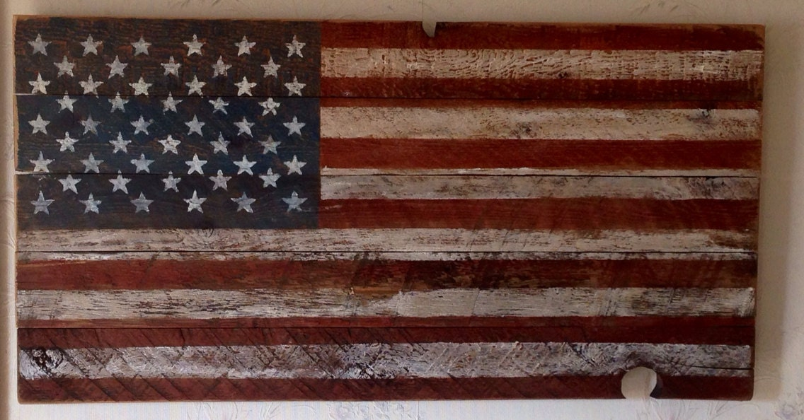 🔎zoom - American Flag Made From Reclaimed Rustic Saw Marked Barn Wood
