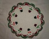 Hand Crocheted Snowman Doily