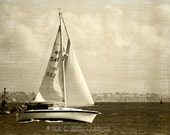 Sail away, sailing boat, art, photography, England, seascape, sea, vintage style, antique brown, monochromatic, wall art, original print.