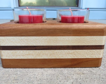 Wood votive candle holder