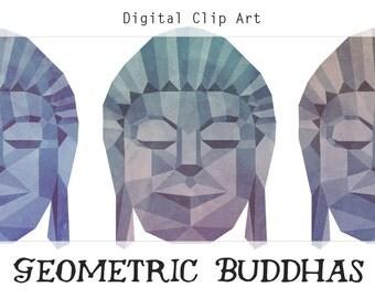 Geometric Buddha Head Digital Clip Art, Digital Collage Sheet, Buddha Clipart, Buddha Printable, Zen Clipart, Asian Clip Art