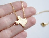 Texas State Necklace, Small Texas Charm Necklace, Texas Necklace, Gold Texas Necklace
