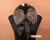 100% real fox fur scarf black grey high quality winter warm wrap shawl accessories 318