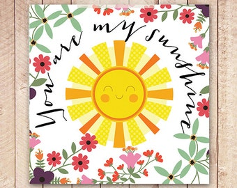 Nursery Art Print, You Are My Sunshine, Bright Nursery Art, 12x12 Printable Art, Instant Download, 8x10 Printable