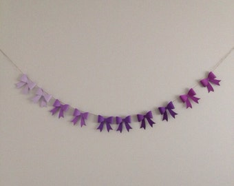 Ombré Lavender Paper Bow Garland, Paper Bow Banner, Photoshoot Prop Banner