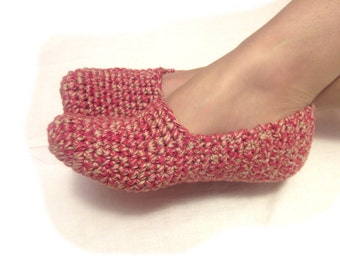 melange red crochet slippers, woman house slippers, christmas gift, friend gift, size 5 6 7 8 9 10 11 12