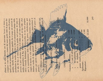 P.63, Blue Fish, in a tone of blue printing, page horizontal position.