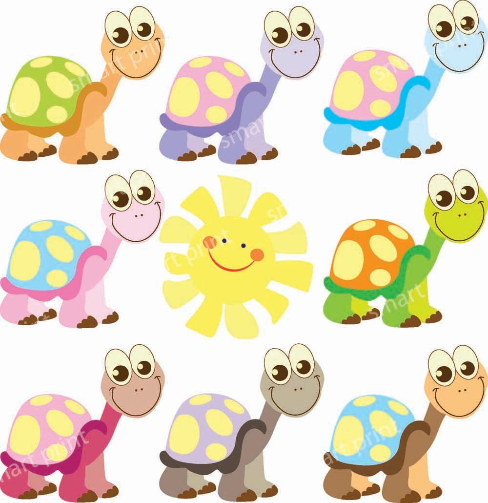 Cute Turtle Digital Clip Art Pink Lilac Baby Blue by ...