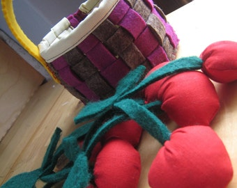 Cherry BASKET of cloth-made by hand