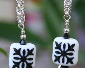Handmade Sterling Silver Chain Maille Byzantine Weave and Black Damask Lampwork Bead Dangle Earrings #2
