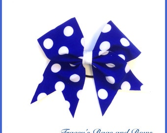 Cheer Bow~ Dark Blue with white polka dots~Softball Bow
