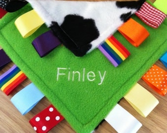 Personalised  or blankTaggy Blanket/Comforter/Gift in Lime