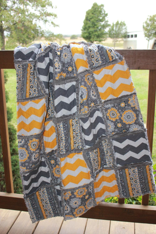 Baby Rag Quilt In Yellow White And Gray White Chevron