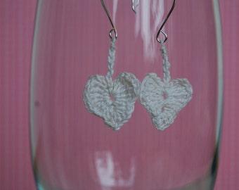 Crochet Heart Earrings, White or Pink