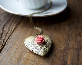 gold heart locket necklace: last one! long locket necklace, engraved locket, heart locket, antique brass locket, rose locket necklace