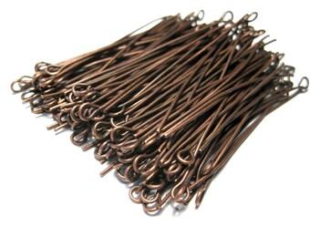 100pcs Antique Copper  Eye pins 2inches 21ga (No.593)