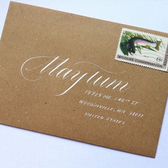 Wedding calligraphy envelope addressing modern by